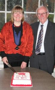 Dr Clare O'Halloran, CHAS President, and Prof. John A. Murphy, guest of honour, cutting the CHAS 125th birthday cake.